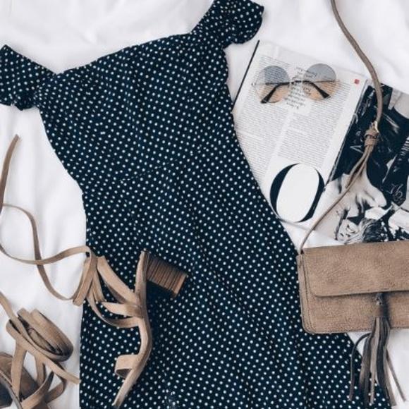 d9537891befbd7 Lulus Dream Love Navy Blue Polka Maxi Dress - NWT